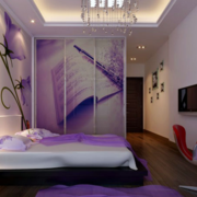 现代简约风格紫色系卧室装饰