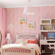 粉色系简约风格卧室背景墙装饰