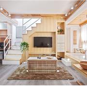 100平米房屋原木客厅背景墙装饰