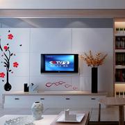 后现代风格客厅背景墙梅花墙贴装饰