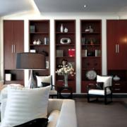 后现代风格简约客厅博古架装饰
