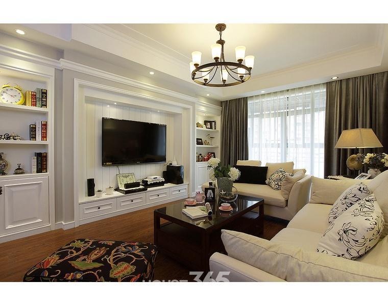 90平米大户型现代欧式客厅石膏线装修效果图
