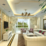 欧式奢华风格客厅石膏线装饰