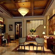 美式经典风格客厅原木吊顶装饰