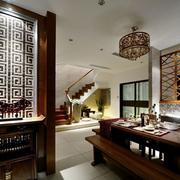 中式简约风格原木玄关装饰