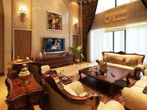 90平米大户型浪漫法式客厅飘窗装修效果图