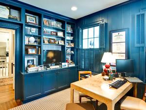 经典的蓝色地中海风格的书房设计效果图鉴赏