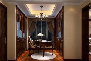 别墅欧式风格深色系书柜装饰