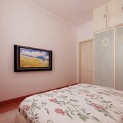 简约风格卧室粉色系电视背景墙装饰