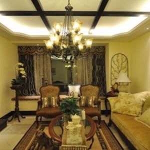 90平米美式复古风格客厅飘窗装修效果图