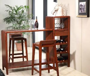 家庭简约风格深色原木吧台装饰