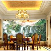 中式餐厅山水画背景墙装饰