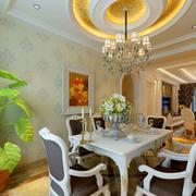 欧式奢华风格餐厅圆形吊顶装饰