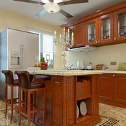美式简约风格原木厨房吧台装饰
