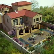 美式简约风格别墅庭院外观图