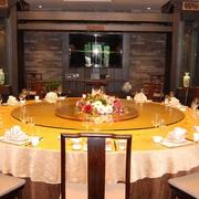 中式简约风格餐厅圆形桌椅装饰