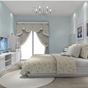清新简约风格卧室浅蓝色壁纸装饰