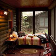 东南亚风格卧室卧室原木背景墙装饰