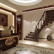 中式后现代风格原木楼梯装饰