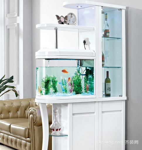 家庭鱼缸造景玄关隔断装修设计效果图
