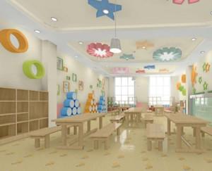 清新简约轻快的幼儿园教室装修效果图
