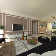 后现代风格客厅纯色背景墙