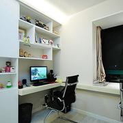 纯白色调书柜设计