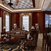 美式经典风格办公背景墙装饰