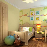 美式风格简约儿童房床头背景墙装饰