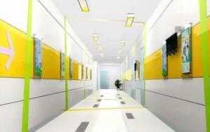 企业办公走廊醒目文化墙装修效果图