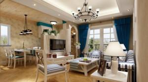美式地中海风格单身公寓客厅装修效果图