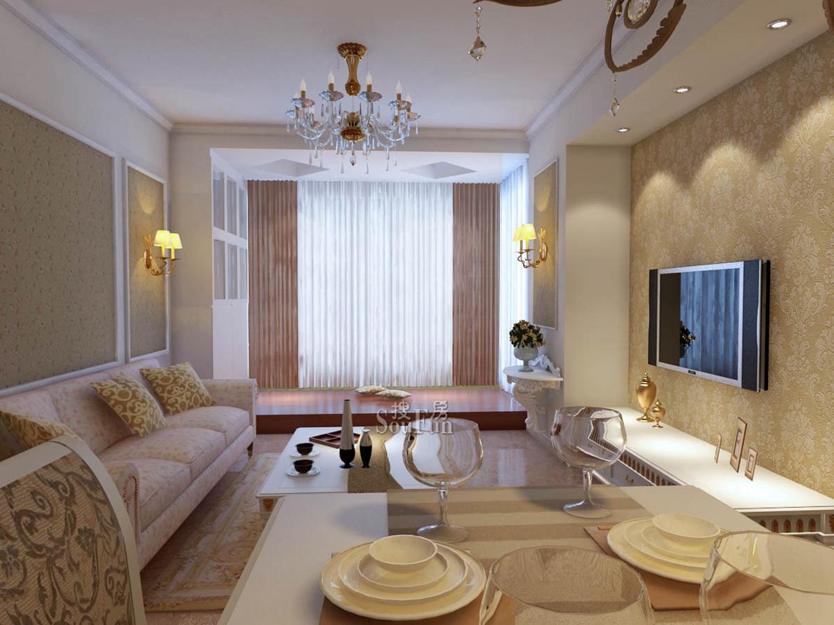 欧式 大户型 客厅 做 石膏线效果图 齐装网装修效果图