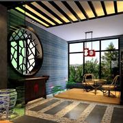 中式深色系入户花园吊顶装饰