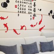 中式简约风格客厅沙发墙贴