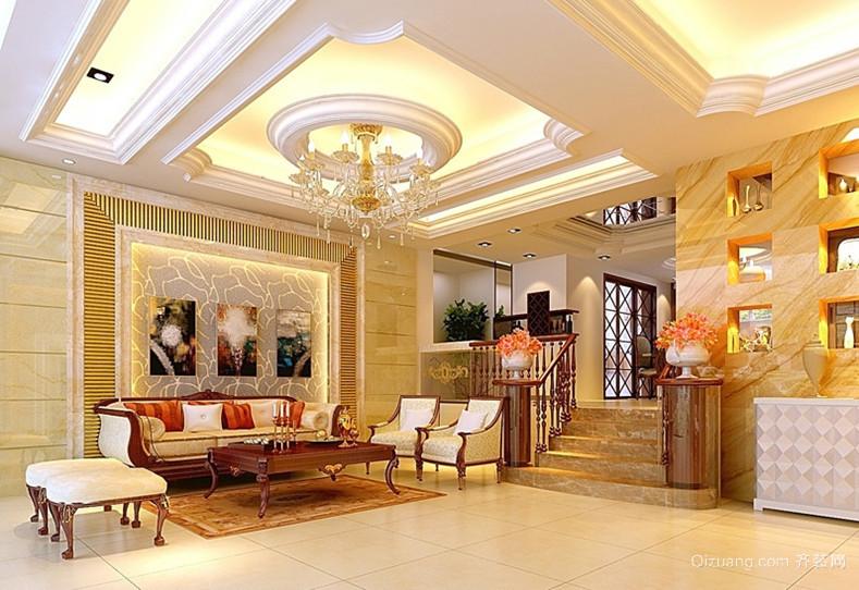 欧式大户型客厅做石膏线效果图图片