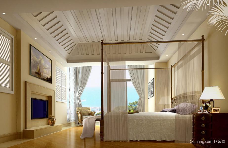 90平米地中海风格主卧背景墙装修效果图