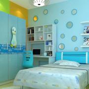 现代简约风格浅蓝色卧室背景墙装饰