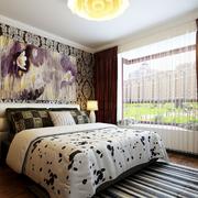 欧式简约印花卧室壁纸装饰