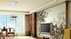 客厅唯美手绘电视背景墙装修效果图