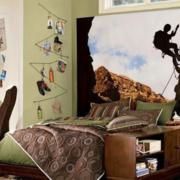 美式简约风格自然朴素风格卧室效果图