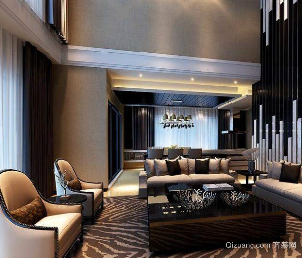 100平米小别墅简欧挑空客厅装修效果图