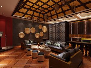 东南亚风格酒吧原木吊顶装饰