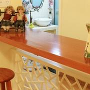 复式楼清新原木材料吧台装饰