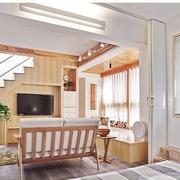 100平米房屋简约风格原木电视背景墙