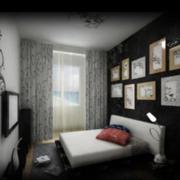 后现代风格深色系卧室床头照片墙装饰
