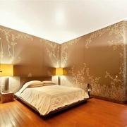 公寓简约风格卧室印花背景墙装饰