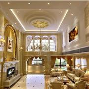 欧式精致风格客厅圆形吊顶装饰