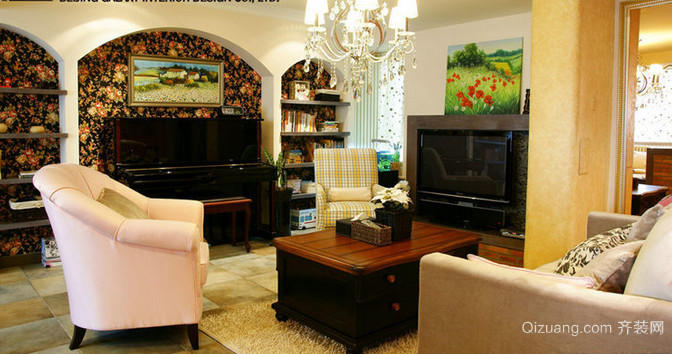 120平米美式客厅电视背景墙效果图