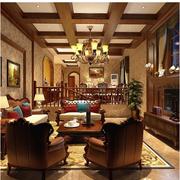 美式别墅客厅酒柜设计