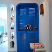 地中海风格玄关蓝色系鞋柜装饰